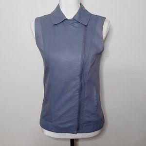 BB Dakota Robin Egg Blue Leather Moto Vest